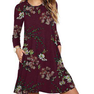 Women's Long Sleeve Pocket Casual Loose Dress
